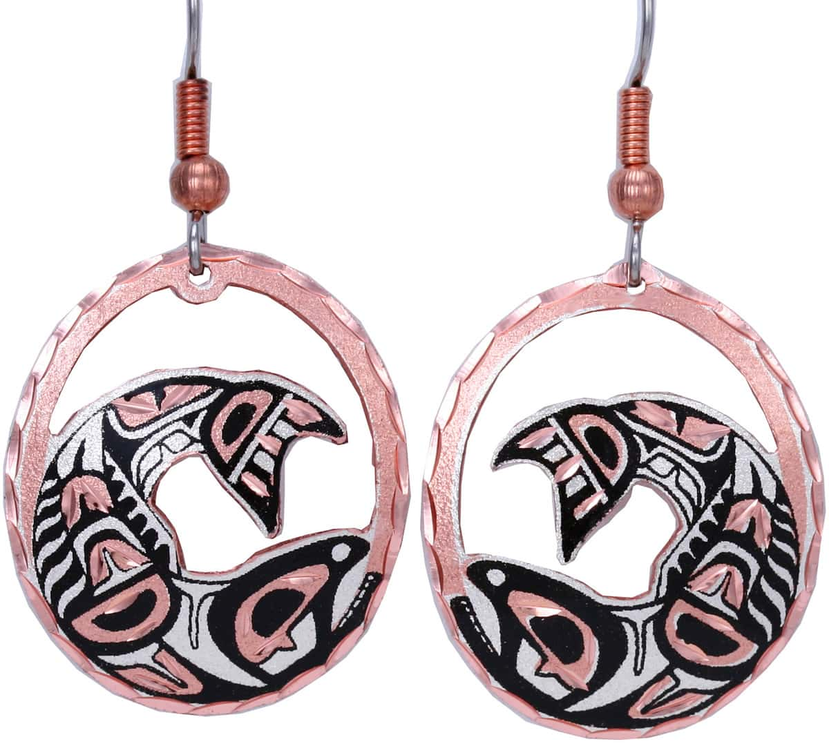Cut Out Native Canadian Salmon Earrings