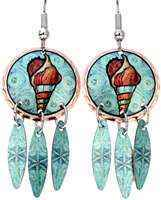 Buy nautical jewelry, dangle shell earrings made from copper in vivid colors
