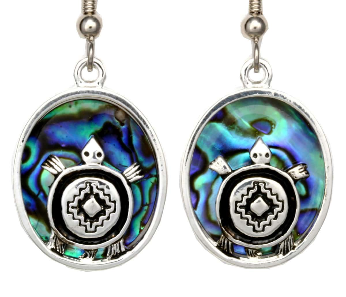Silver Plated Turtle Earrings with Abalone Shell