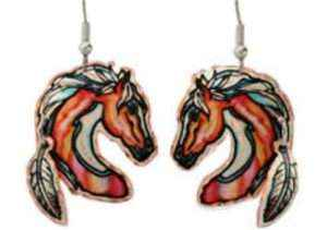 Horse Earrings with Dangle Copper Feathers