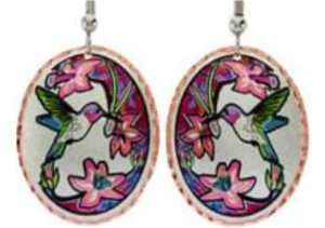 Wholesale Hummingbird Earrings in Flame Painting Colors