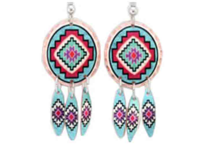 Turquoise Color Copper Native SW Earrings