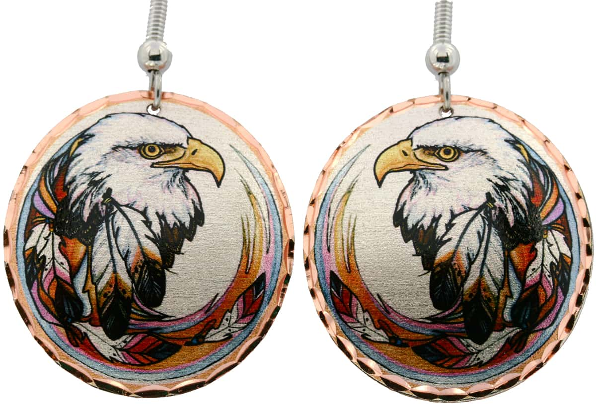 American Bald Eagle with Feathers Earring Designed by Lynn Bean