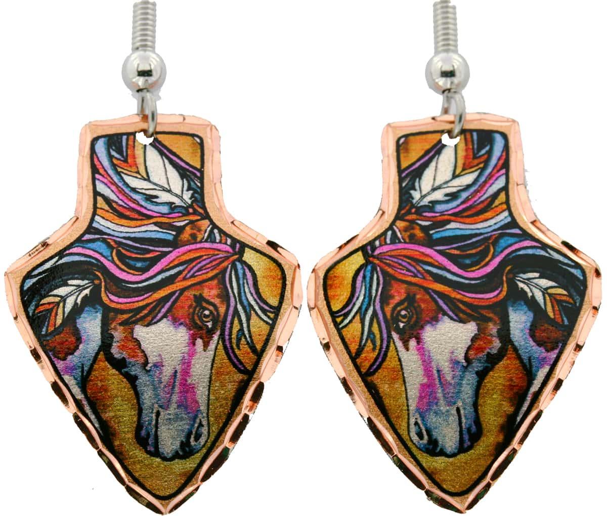 Arrowhead Colorful Native American Horse Earrings