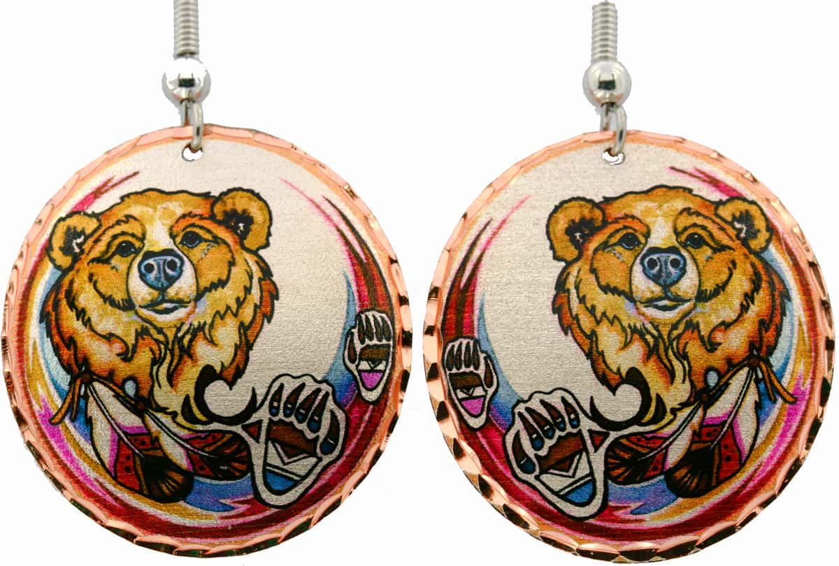 Bear, Bear Paws and Feathers Earrings with Native Flair