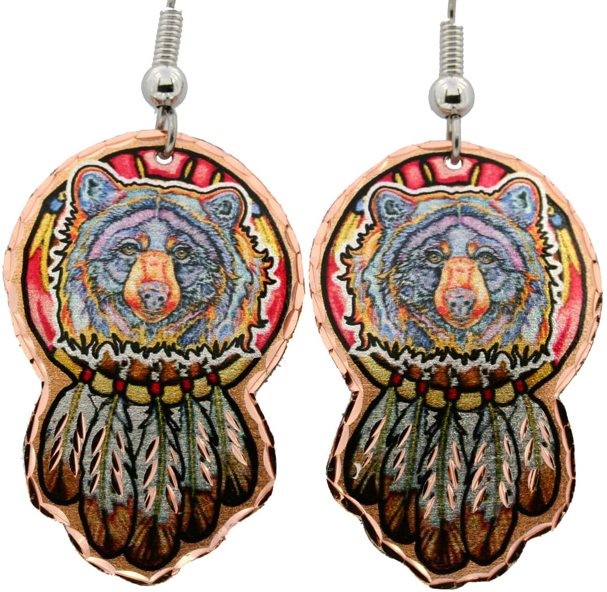 Bear with Eagle Feathers Dream Catcher Earrings