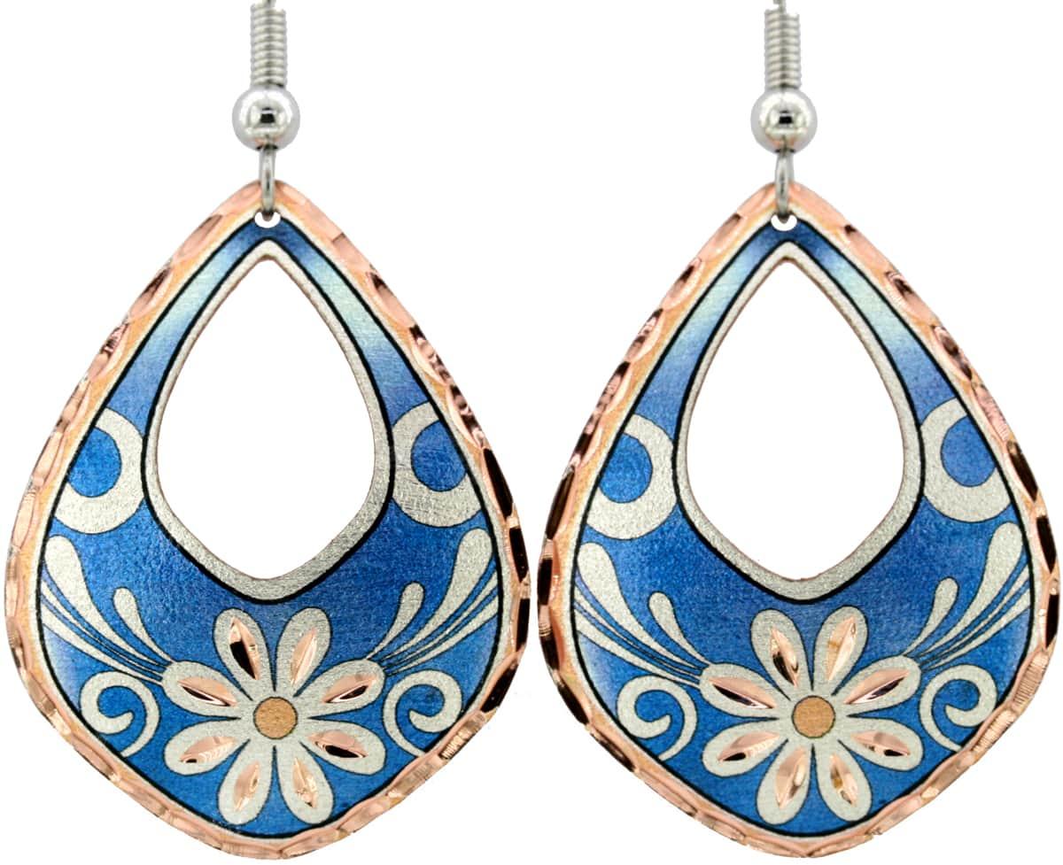 Blue Background Daisy Flower Earrings