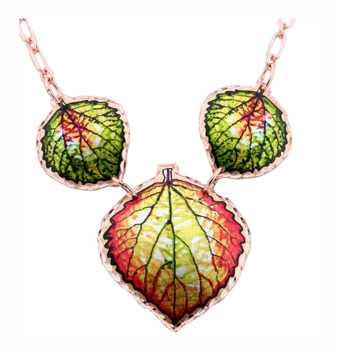 Art Jewelry, Colorful Aspen Leaves Necklaces Handmade from Copper
