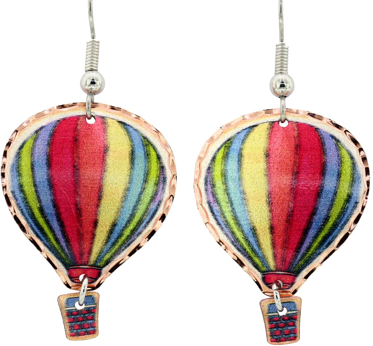 Green, Blue and Red Hot Air Balloon Earrings