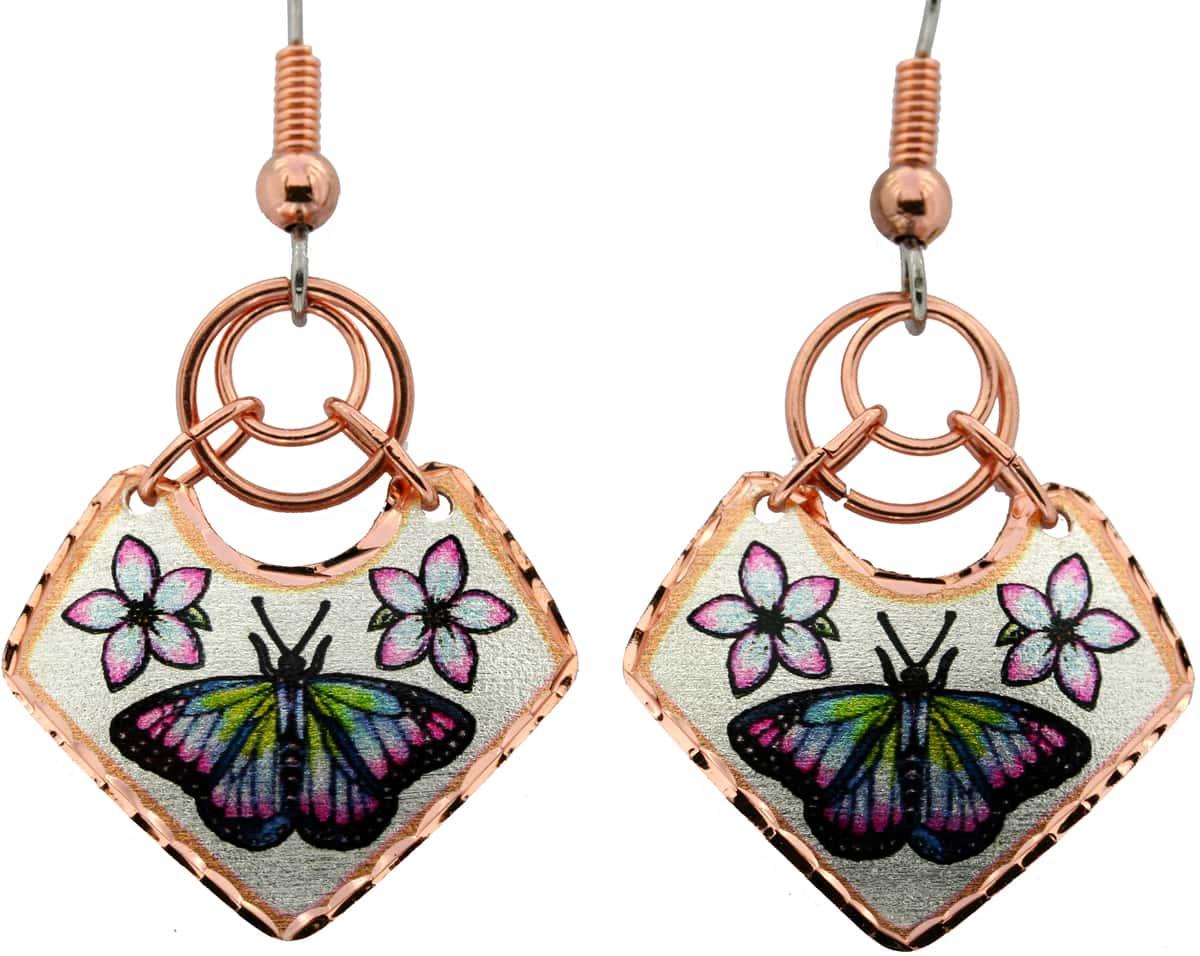 Wire Dangle Butterfly Copper Earrings, Lynn Bean wire jewelry earrings