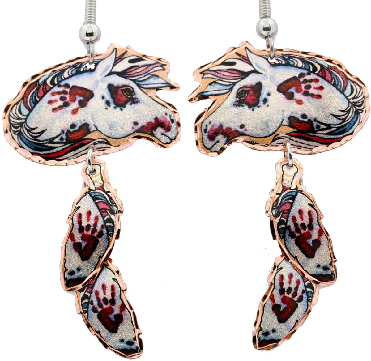 Dangle Feather Spotted War Pony Copper Earrings