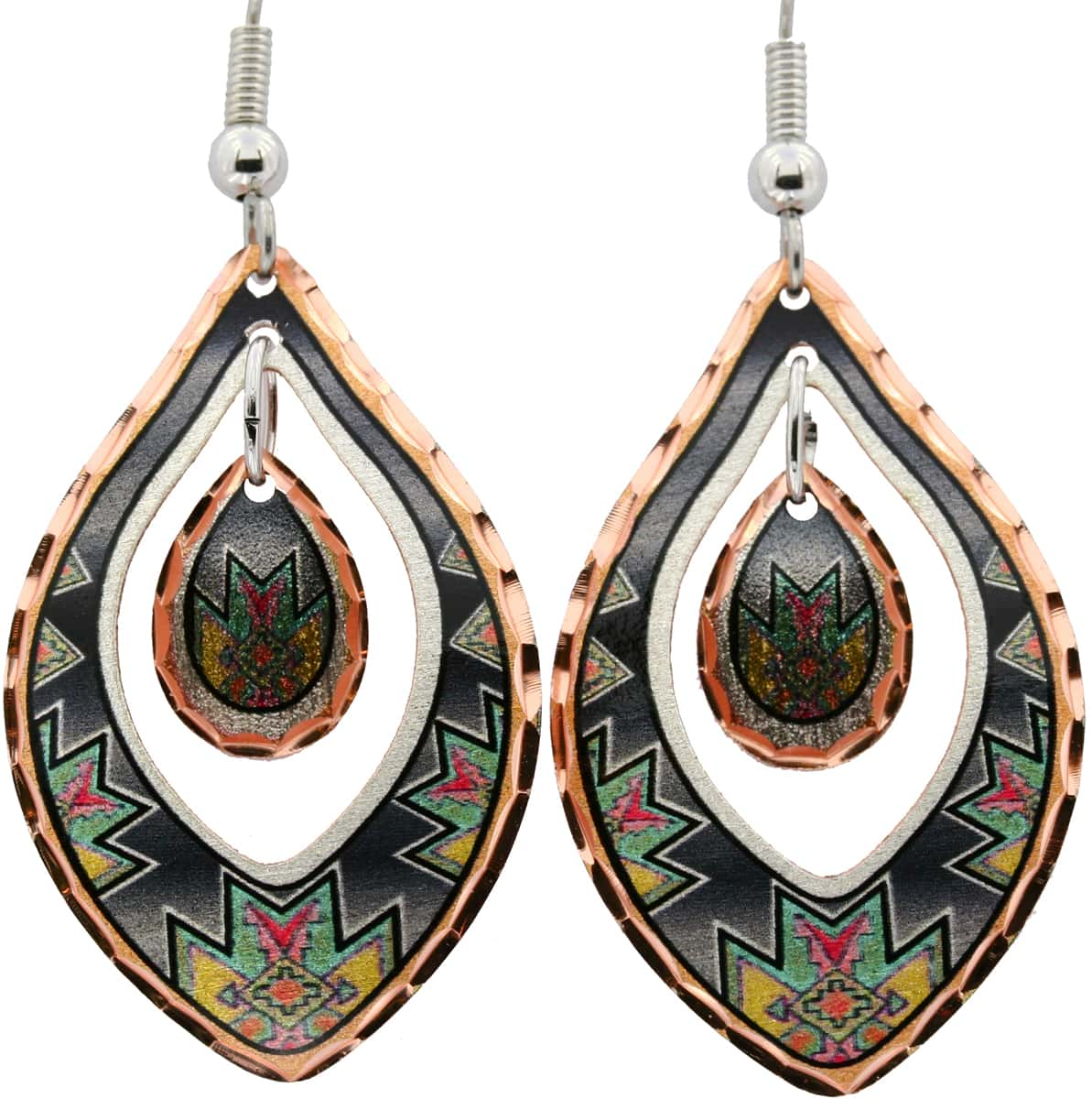 Dangle Native Design Earrings, Magnificent Art Jewelry