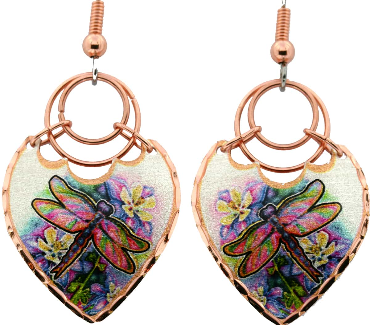 Dragonfly Earrings Handmade from Copper and Copper Wires
