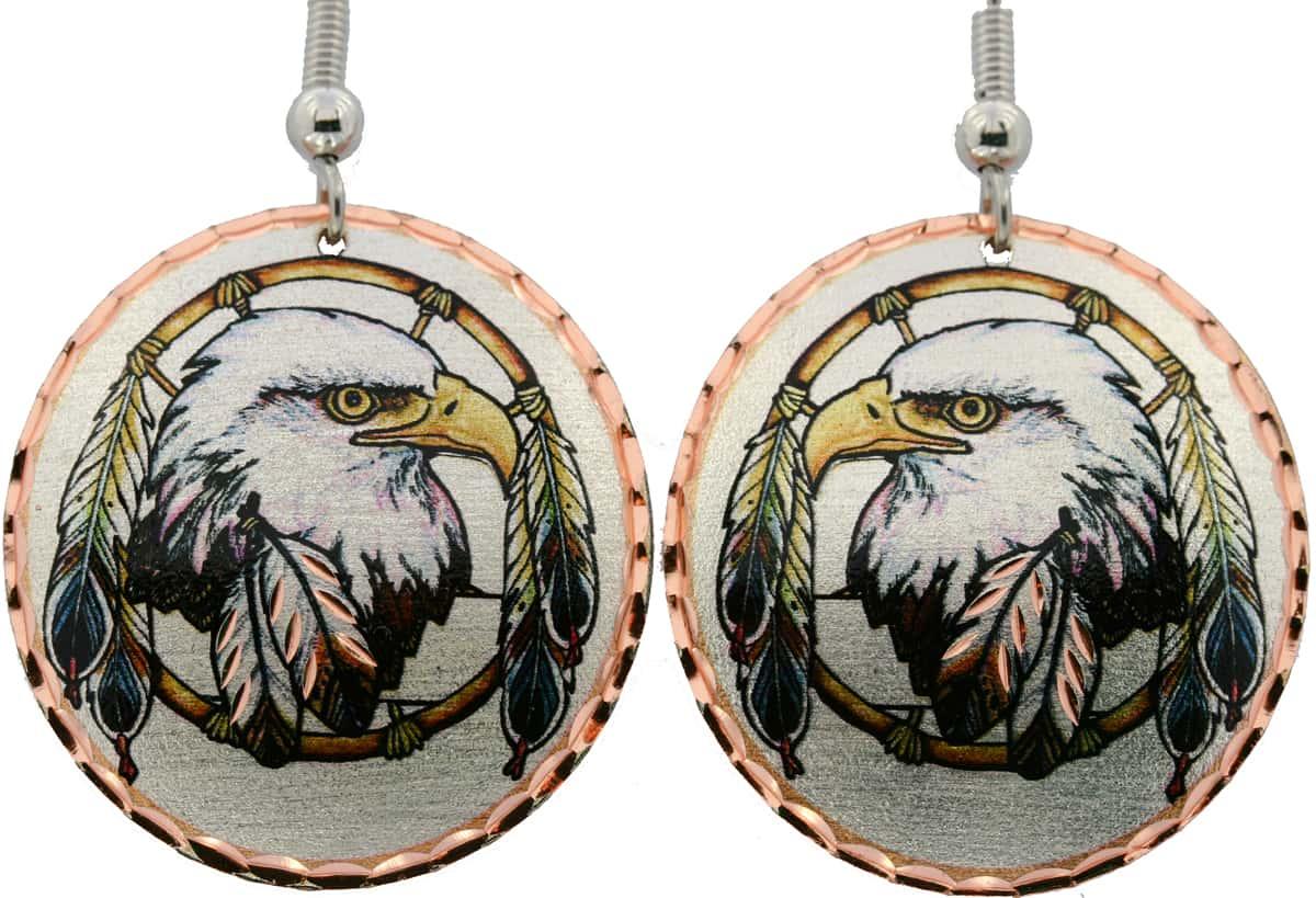 Eagle Feather and Eagle Earrings