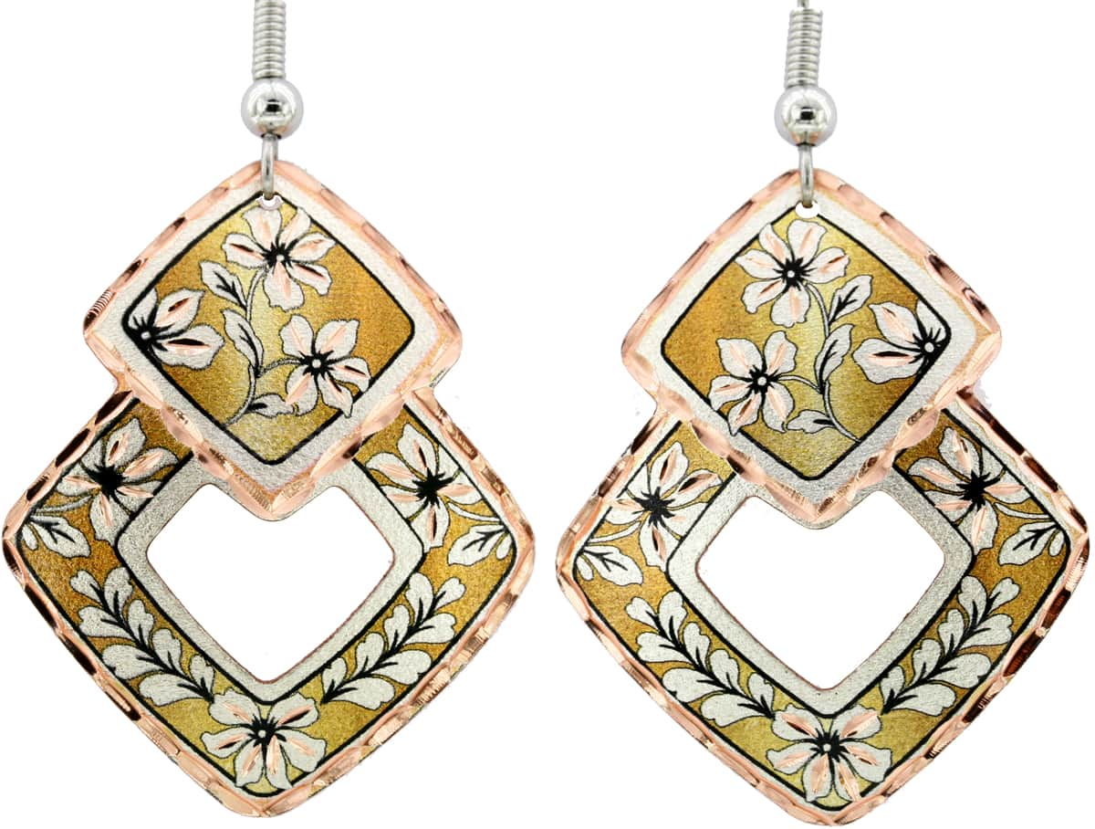 Cut Out Square Flower Earrings