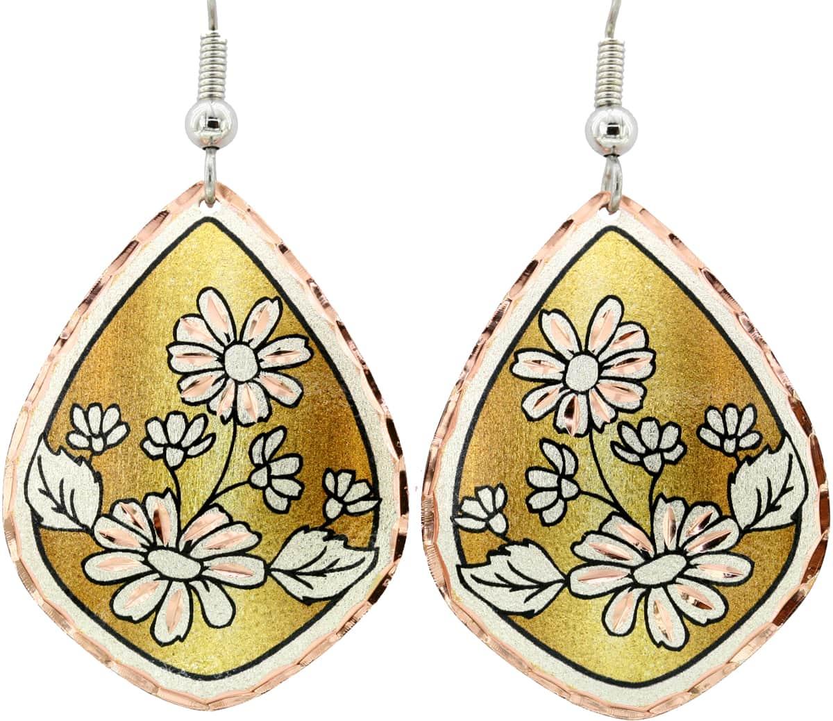 Daisy Flower Copper Earrings