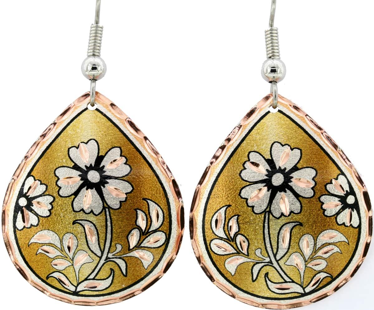 Gold Background Daisy Flower Teardrop Earrings