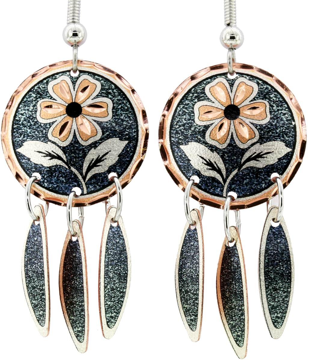 Dark Green Round Flower Earrings