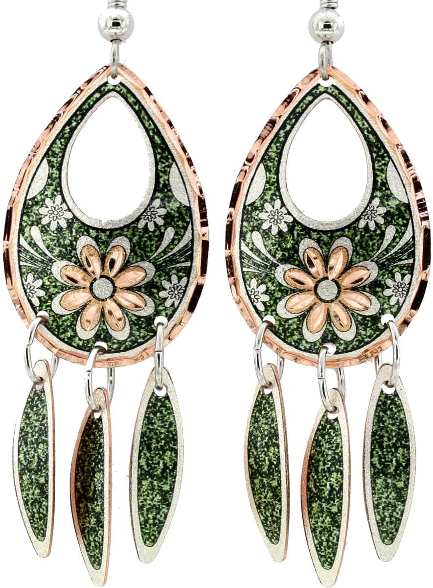 Green Background Teardrop Flower Earrings