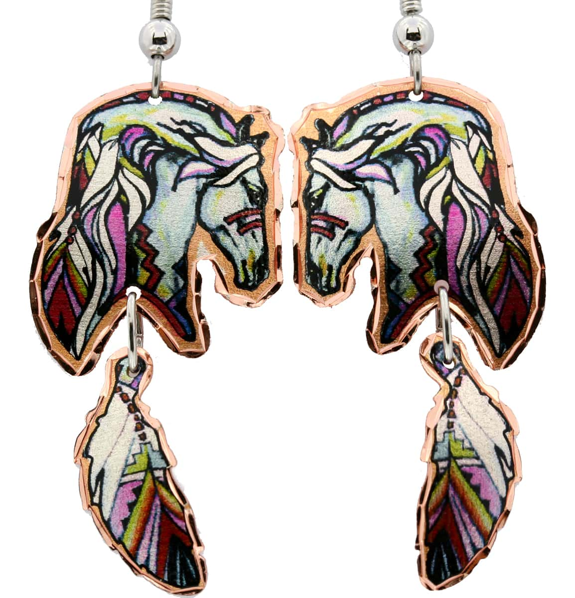 Painted Horse and Copper Feather Earrings LDm-229