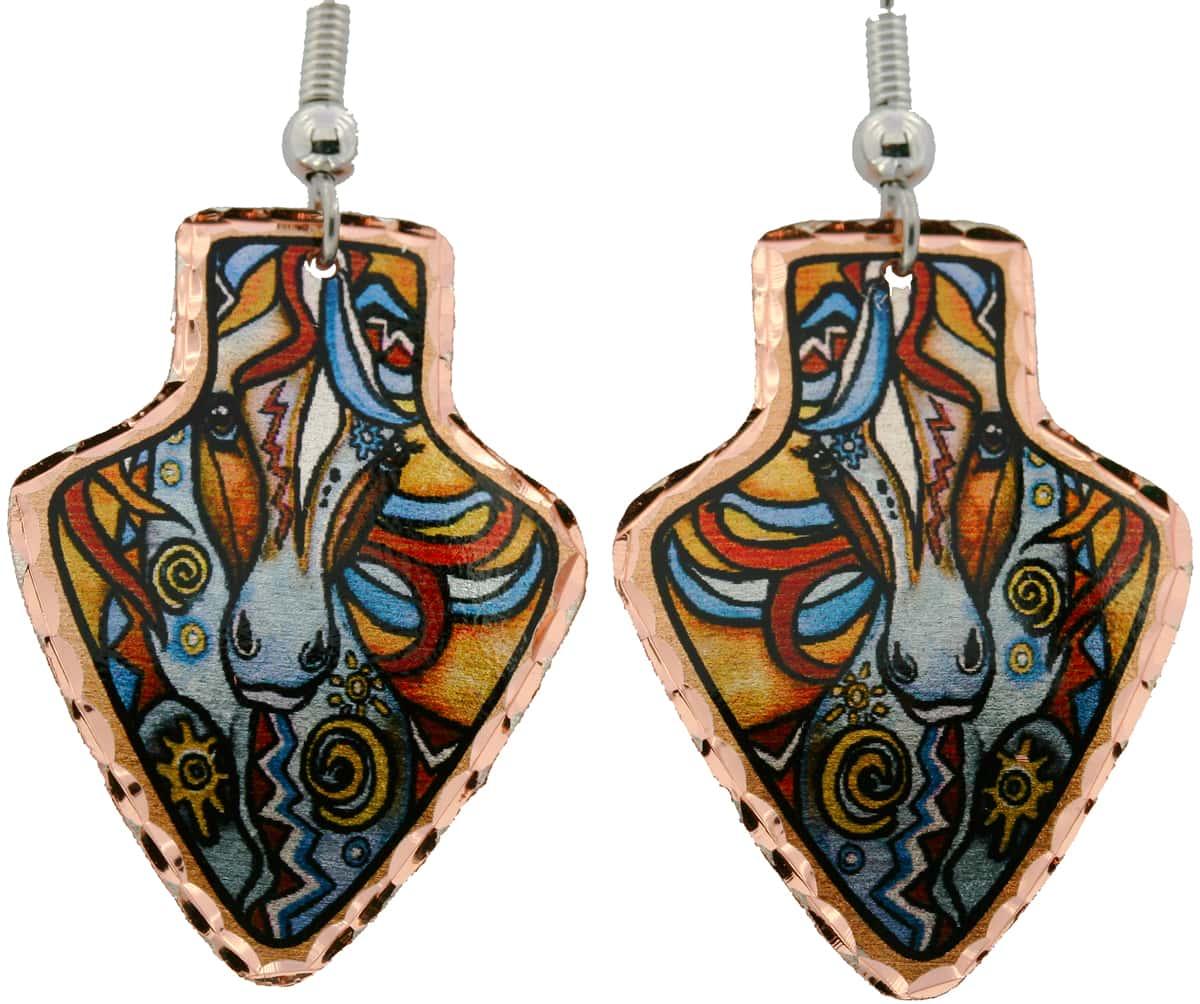 Arrowhead Painted War Pony Copper Earrings