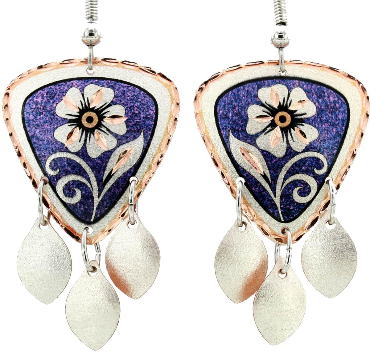 Purple Background Flower Dangle Earrings