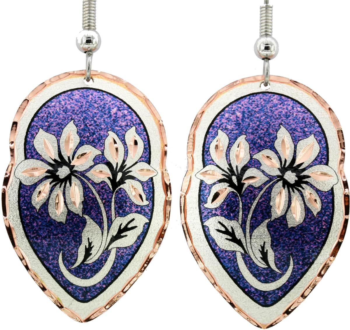 Purple Lily Flower Earrings
