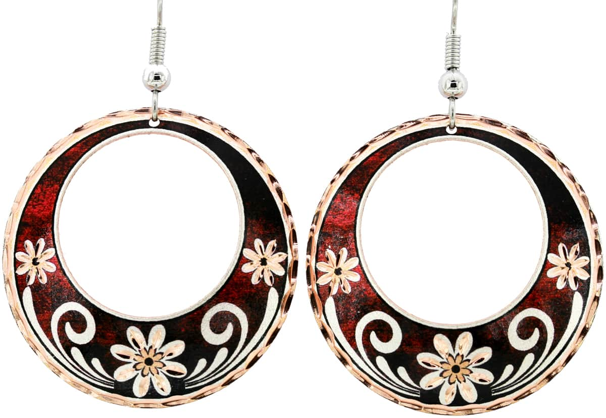 Circle Flower Earrings with Cut out Center