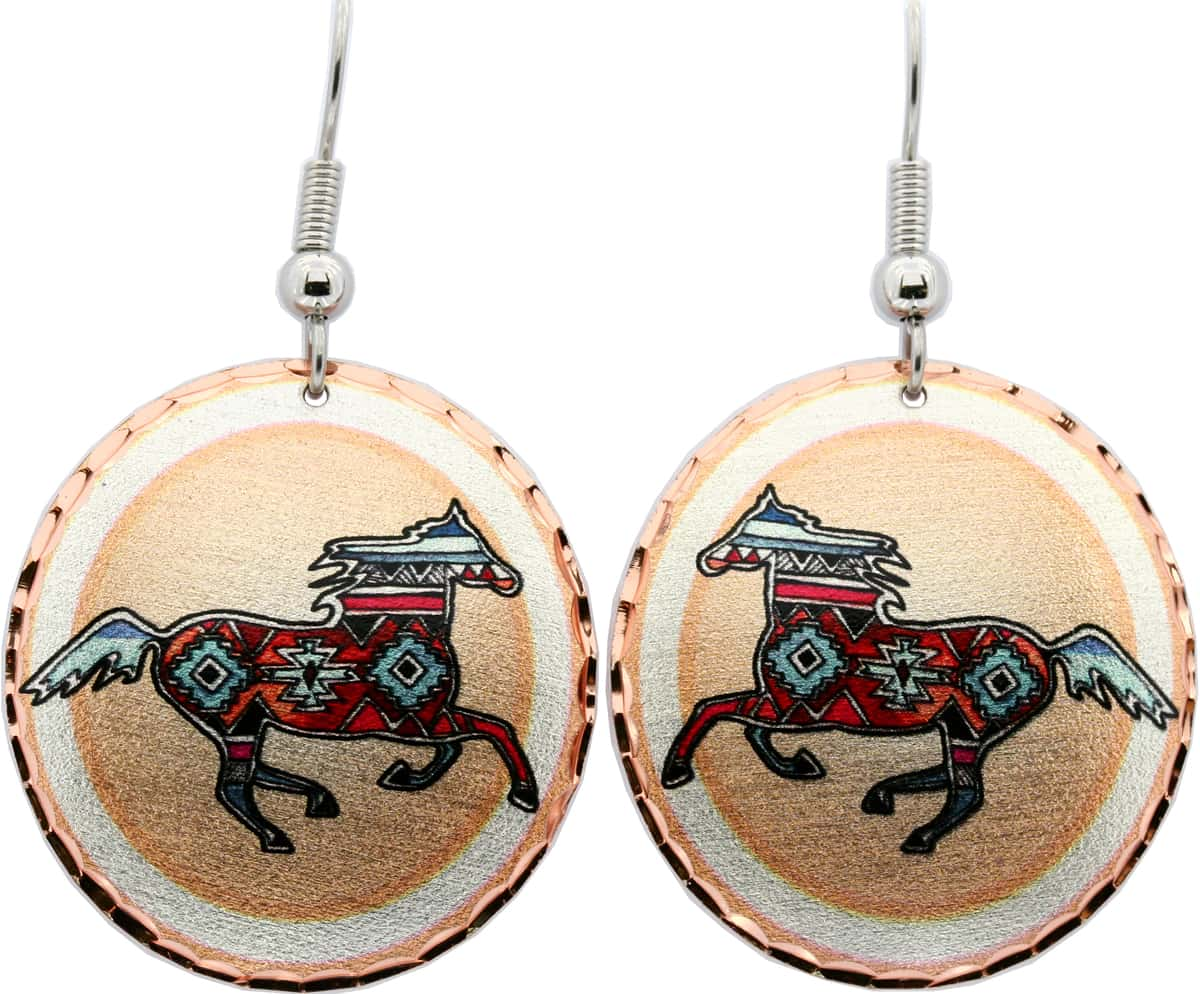 Round Native Indian Painted Pony Earrings
