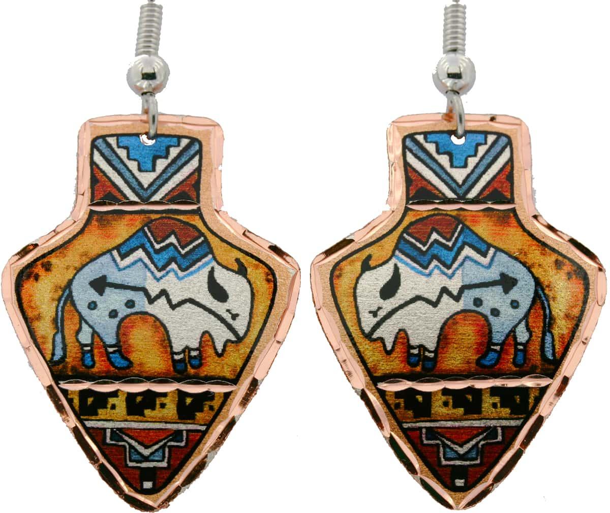 SW Native American Arrowhead Buffalo Earrings