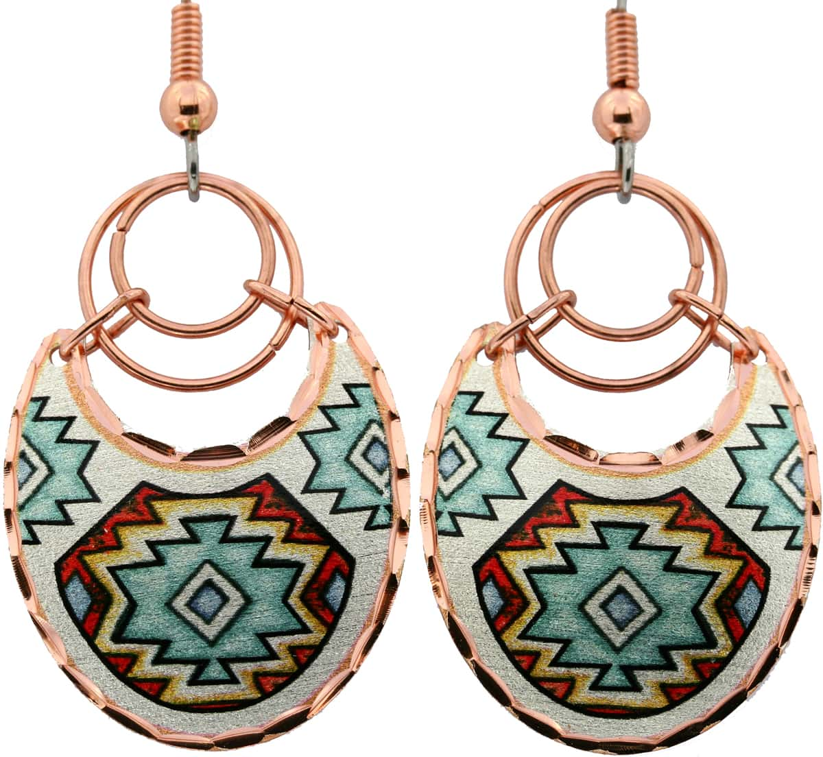 Unique Wire Earrings with Southwest Native American Designs