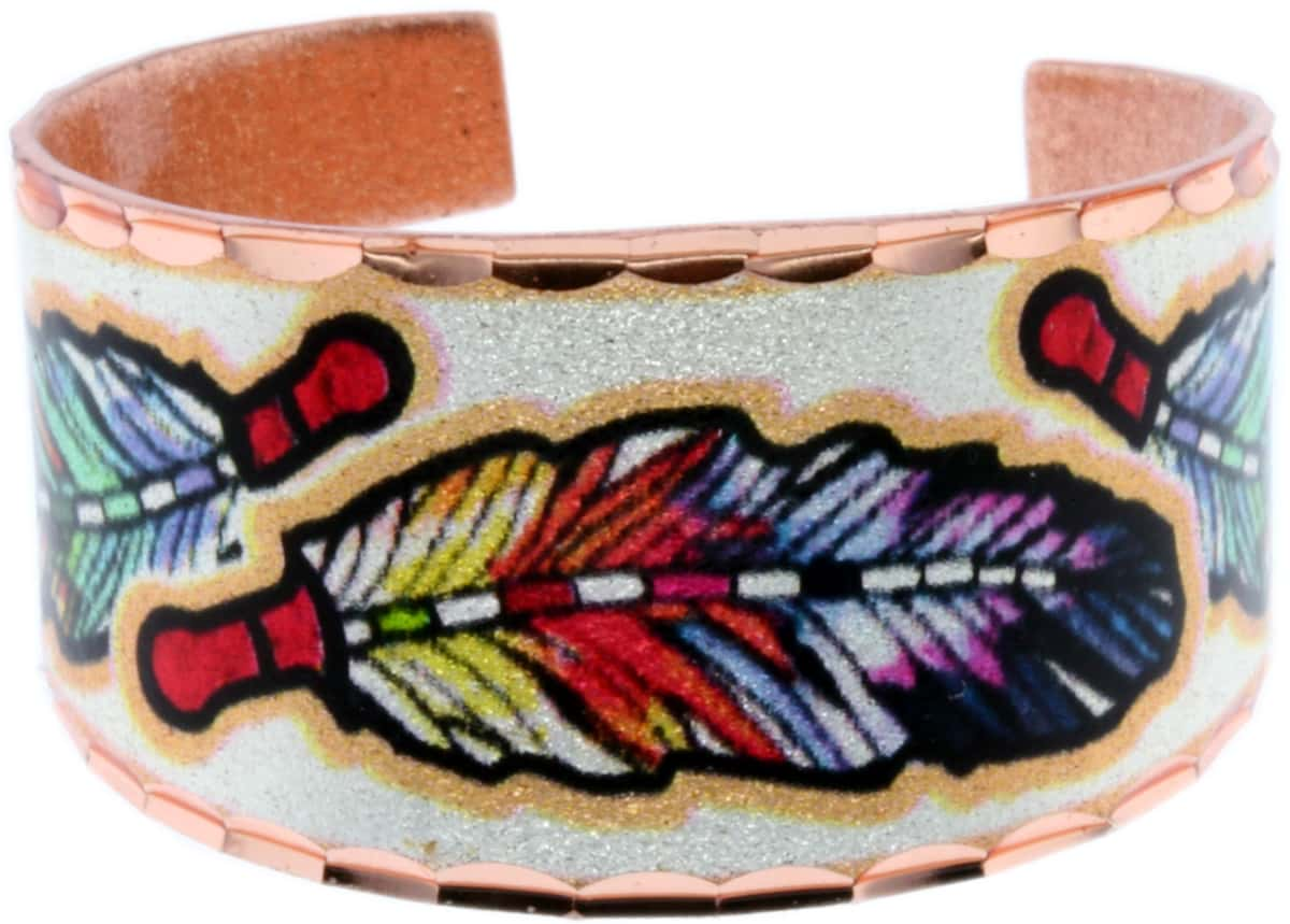Colorful Feather Art Copper Rings