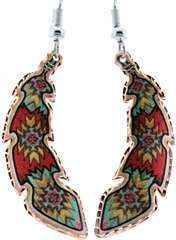 Colorful Native American Copper Feather Earrings