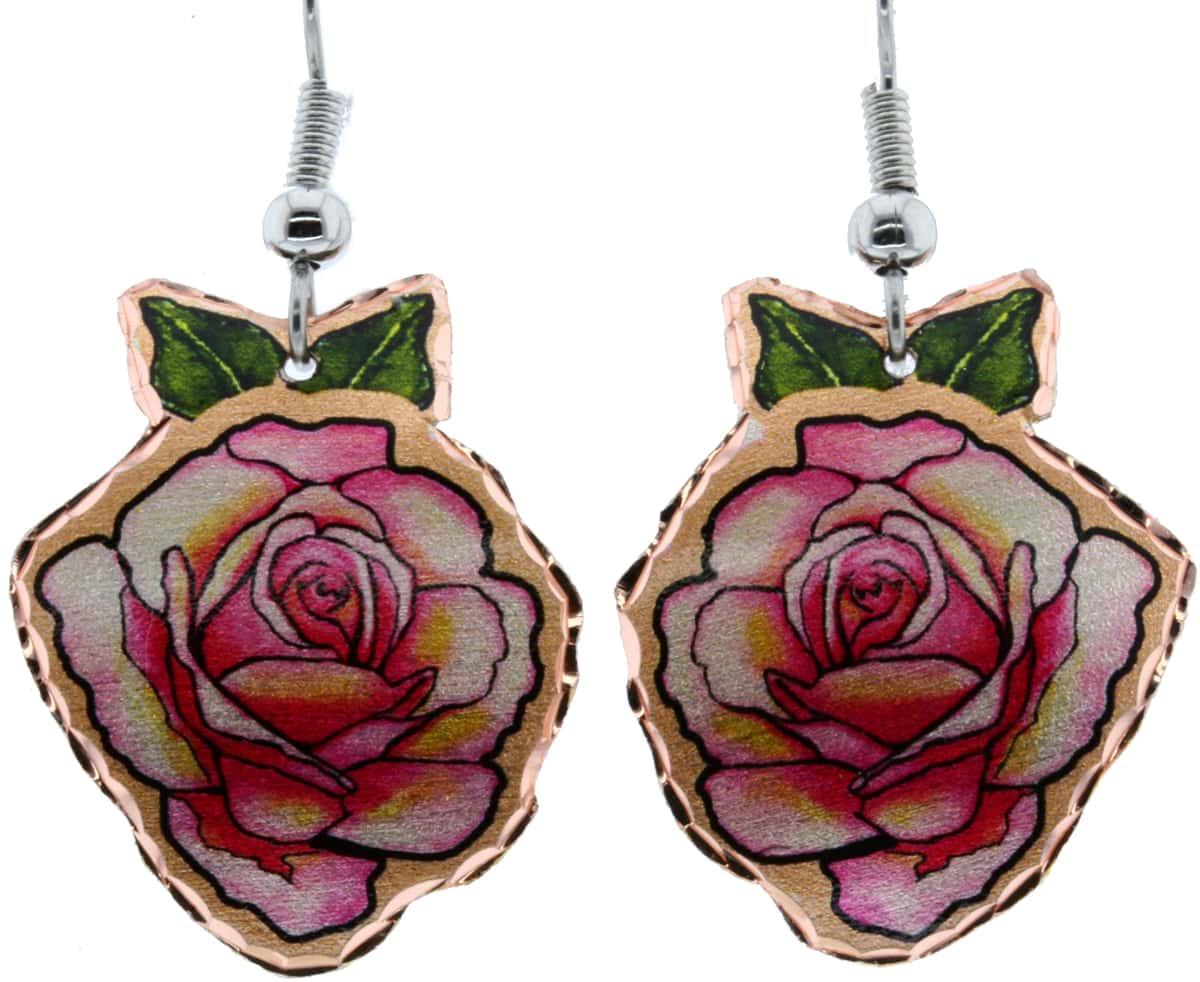 Pink Rose Handmade Earrings