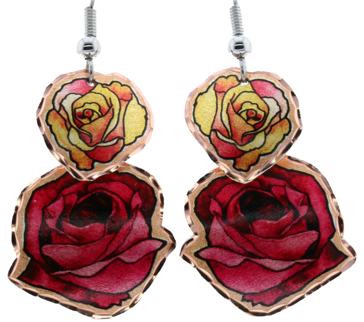 Dangle Earrings Handmade in Red and Yellow Roses