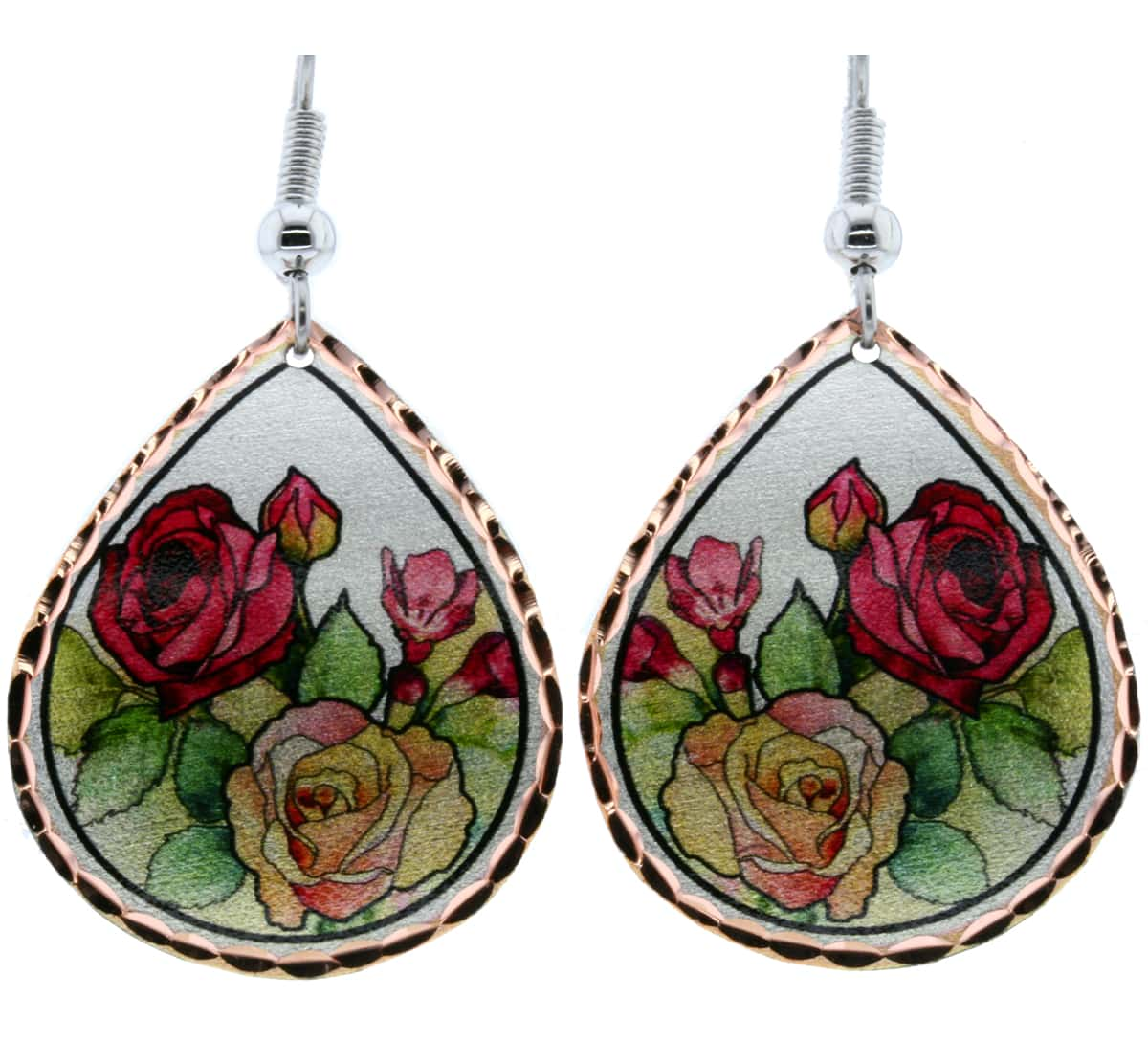Red and Yellow Roses Teardrop Earrings