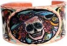 Colorful Day of the Dead Skull Copper Ring