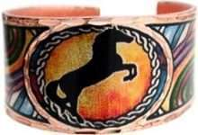 Colorful Rearing Horse Copper Ring