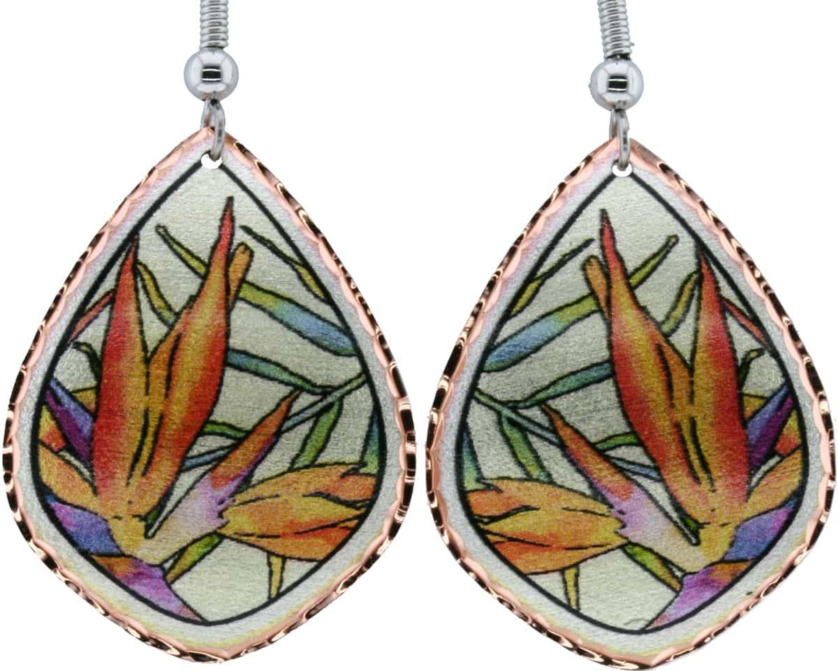 Bird of Paradise Flower Earrings