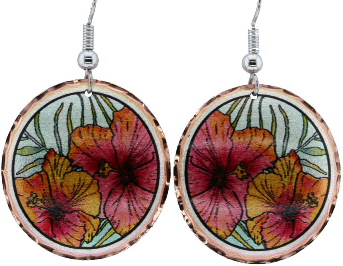 Hibiscus Flower Earrings Designed by Jo Lynch