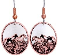 Horse Earrings Handmade from Copper