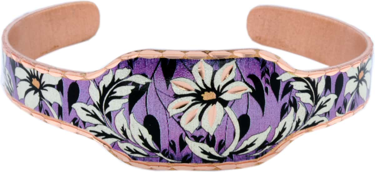 Purple Flower Cuff Bracelet