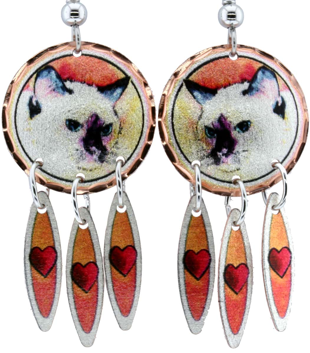 Siamese Cat Dangle Earrings