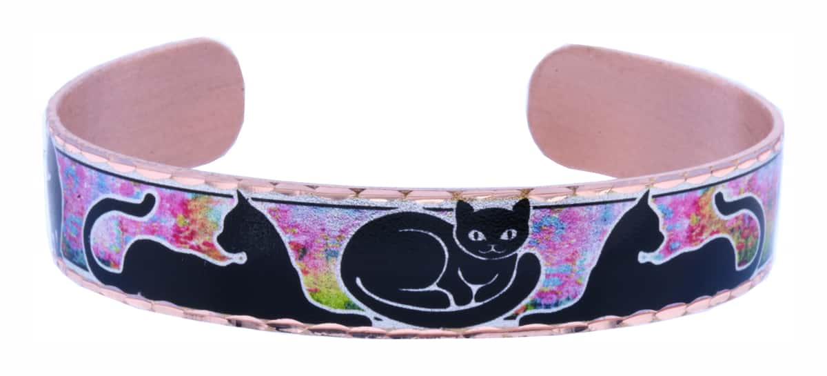 Cat Bracelet in Cat Silhouettes and Colorful Background Colors