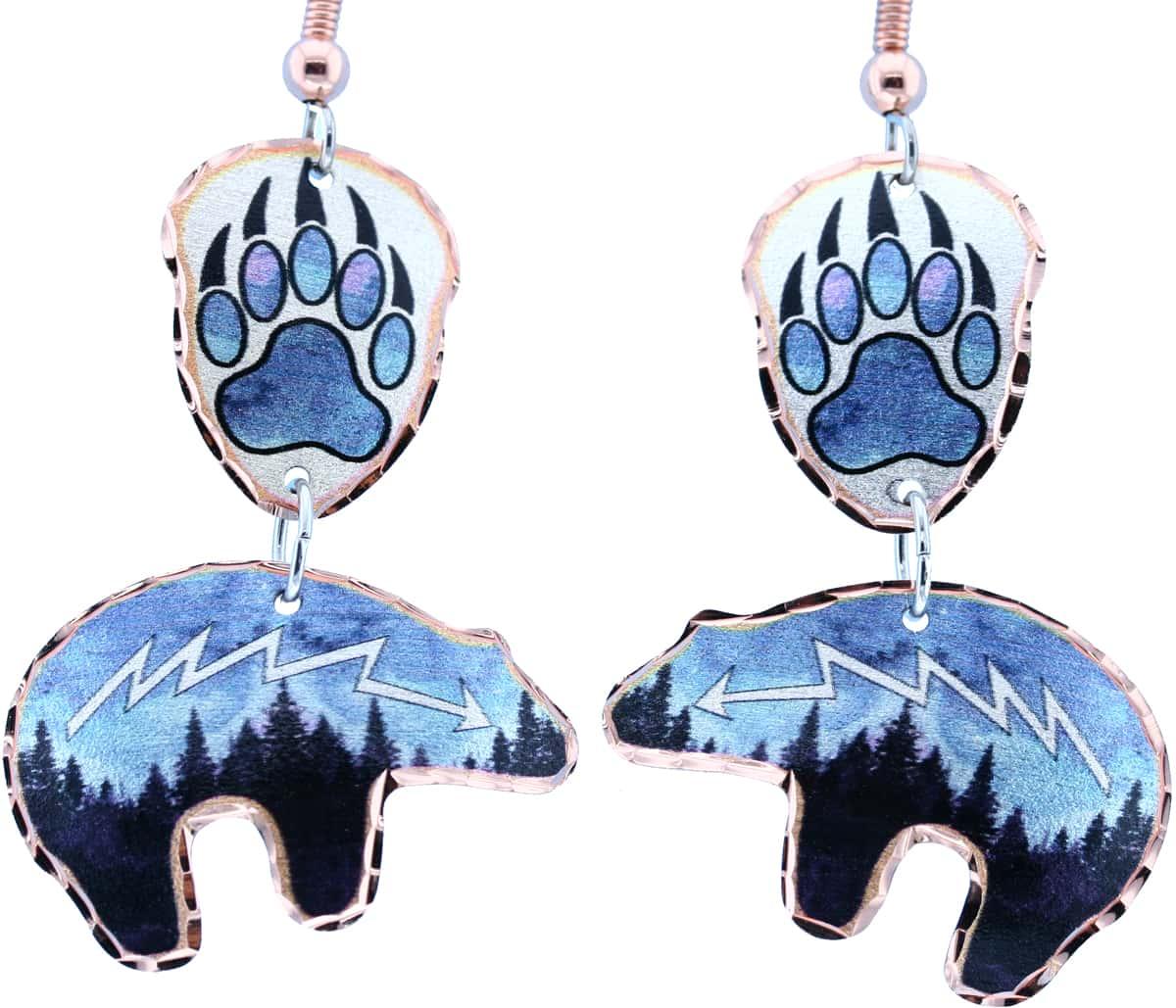 Dangle Bear & Bear Paw Earrings