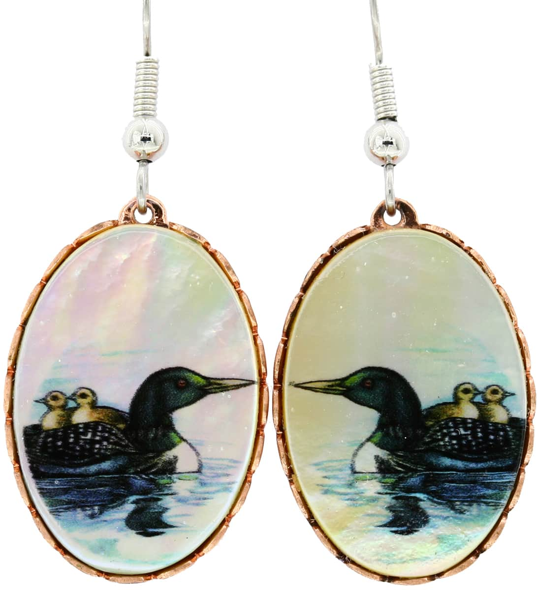 Loon Earrings Printed on Shell