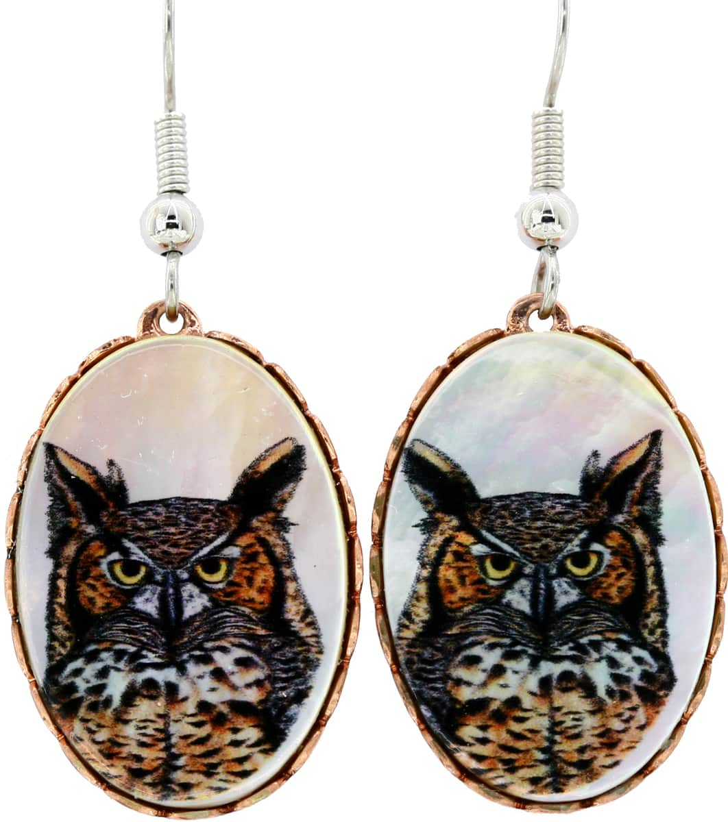 Mother of Pearl Shell Owl Earrings