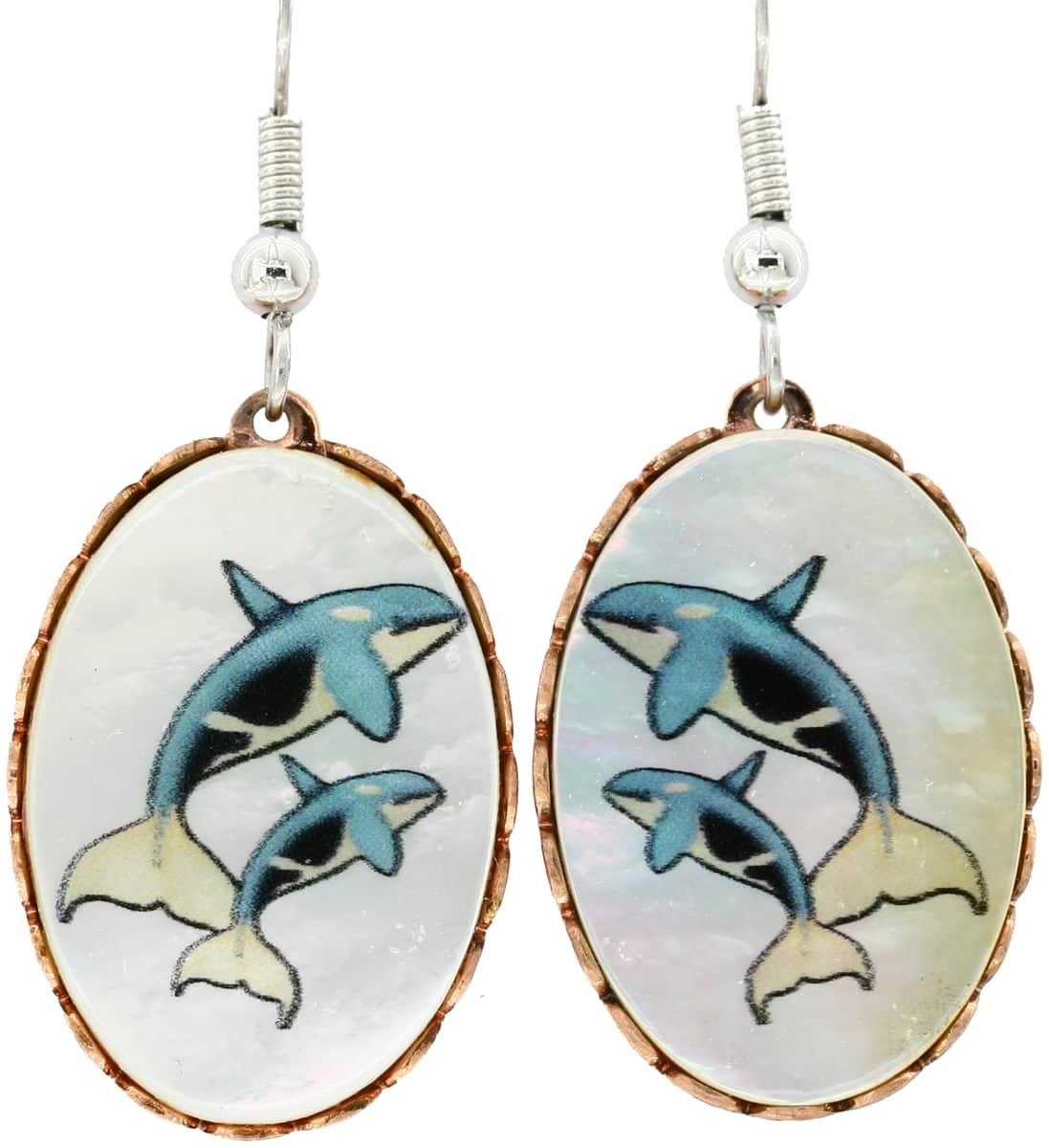 Mother of Pearl Whales Earrings