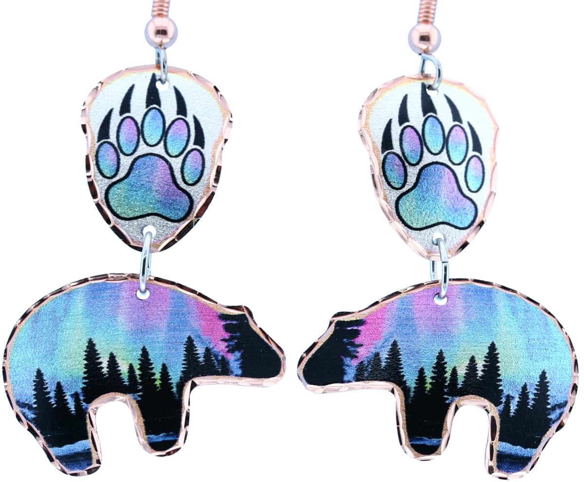 Bear Earrings Created in Northern Lights Design