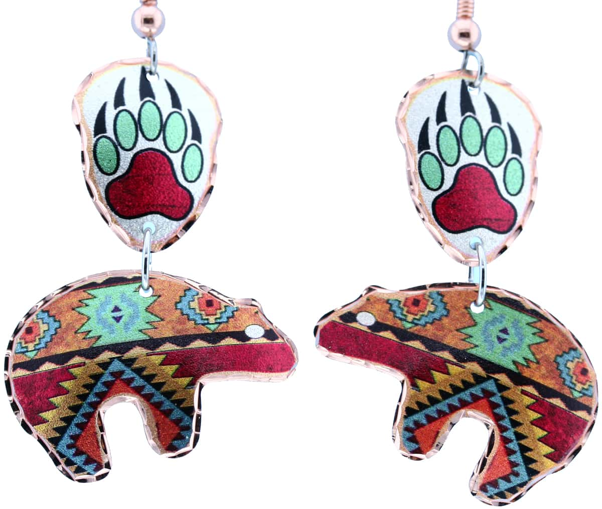 SW Native Bear & Bear Paw Dangle Earrings